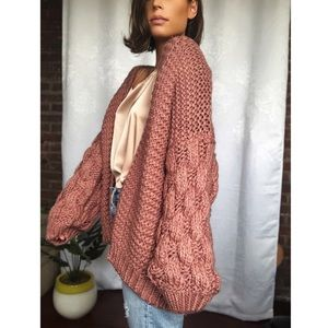 Sweaters - 🆕Presley Mauve Puff Sleeve Chunky Knit Cardigan